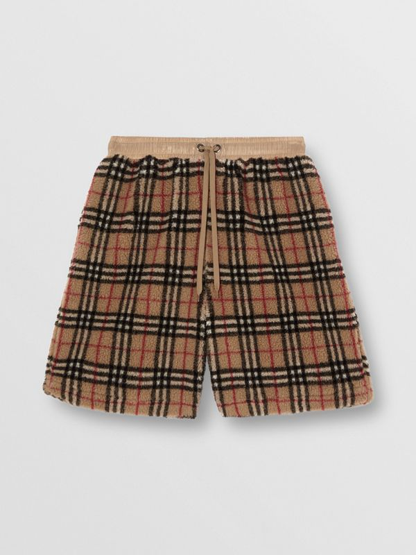 Vintage Check Faux Shearling Drawcord Shorts in Archive Beige - Men | Burberry - cell image 3