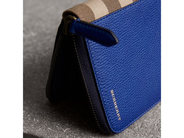 House Check and Grainy Leather Ziparound Wallet in Deep Blue - Men | Burberry - cell image 1