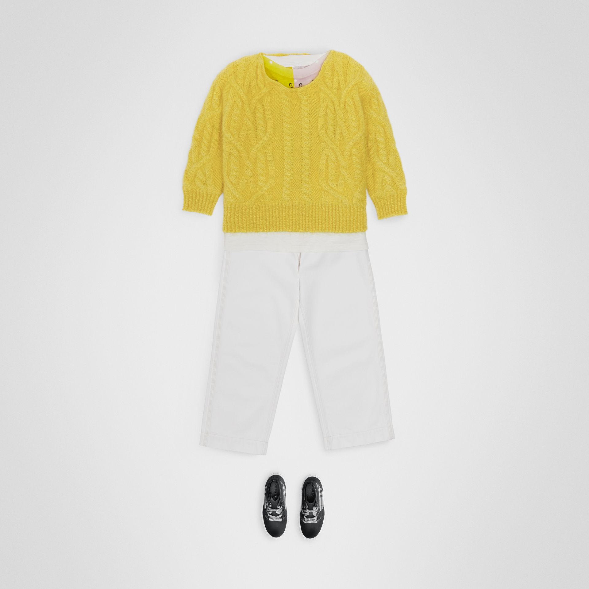 Cable Knit Mohair Wool Sweater in Bright Yellow | Burberry - gallery image 2