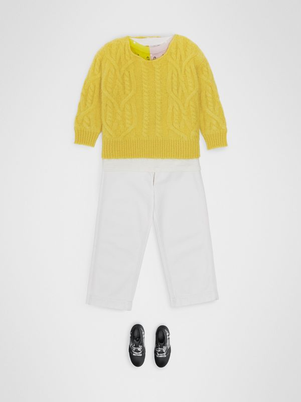 Cable Knit Mohair Wool Sweater in Bright Yellow | Burberry Canada - cell image 2