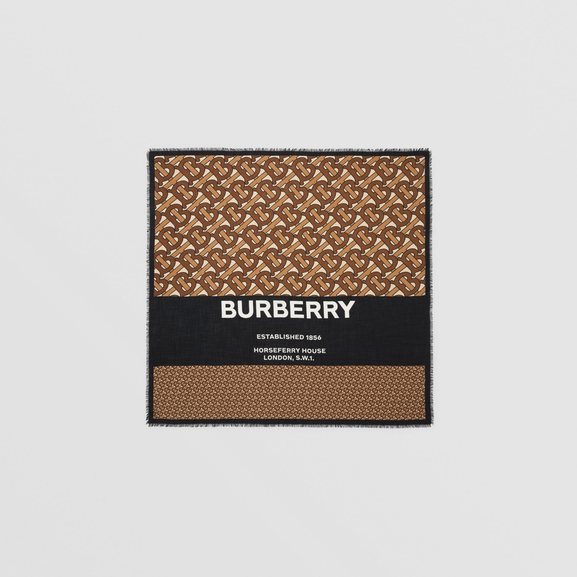 Monogram Print Cashmere Large Square Scarf in Bridle Brown | Burberry United Kingdom - gallery image 0