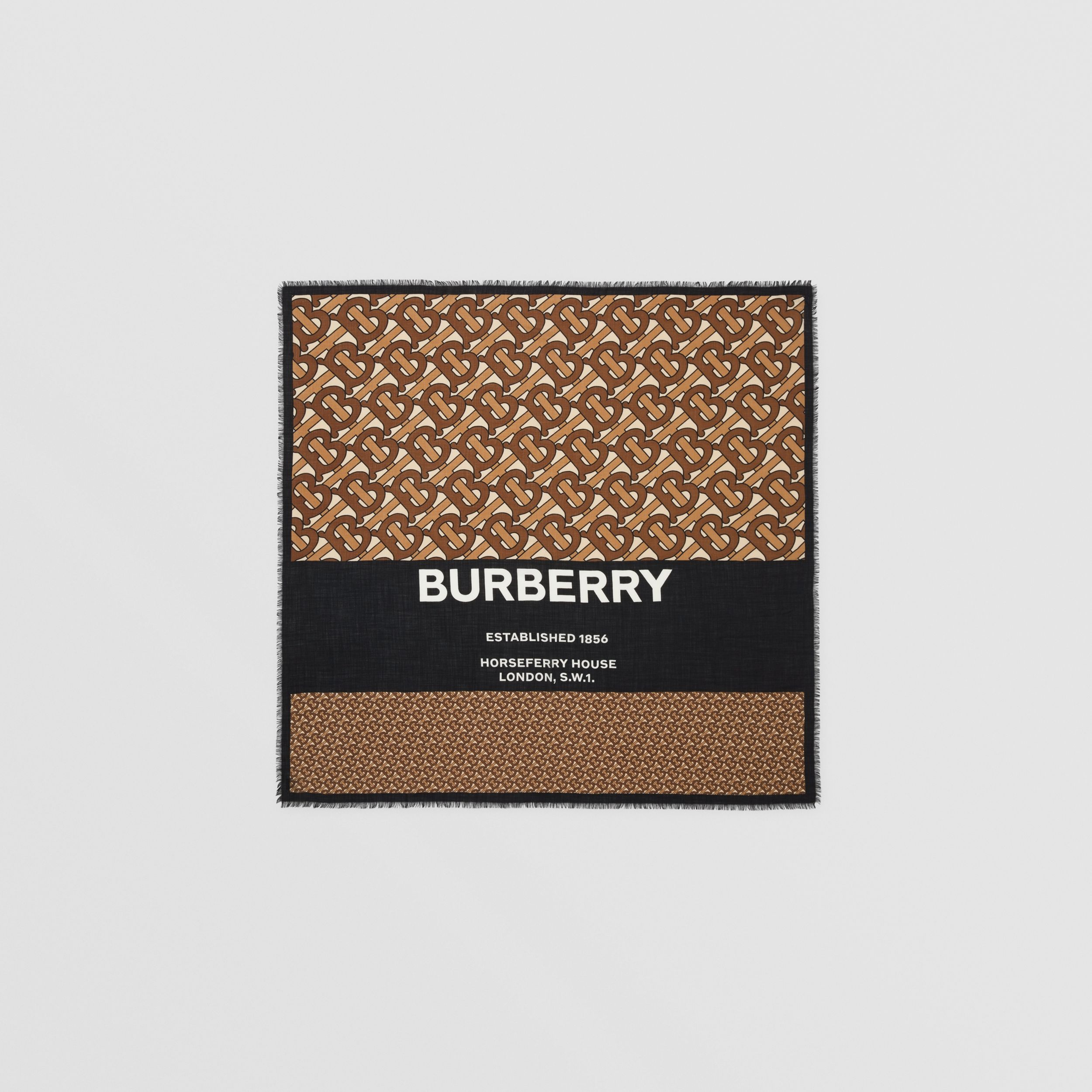 Monogram Print Cashmere Large Square Scarf in Bridle Brown | Burberry - 1