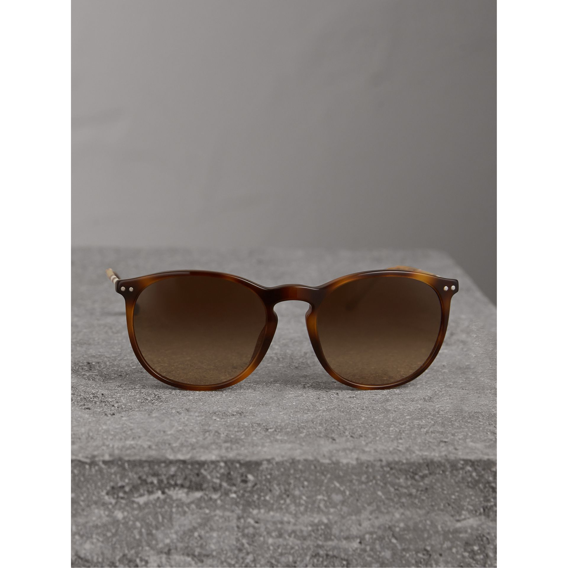 Check Detail Round Frame Sunglasses in Light Brown - Men | Burberry Australia - gallery image 3