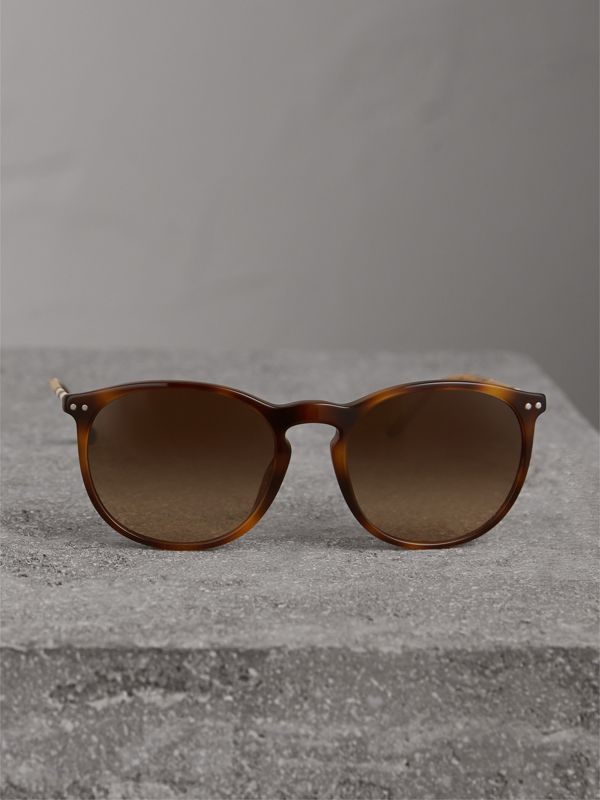 Check Detail Round Frame Sunglasses in Light Brown - Men | Burberry - cell image 2