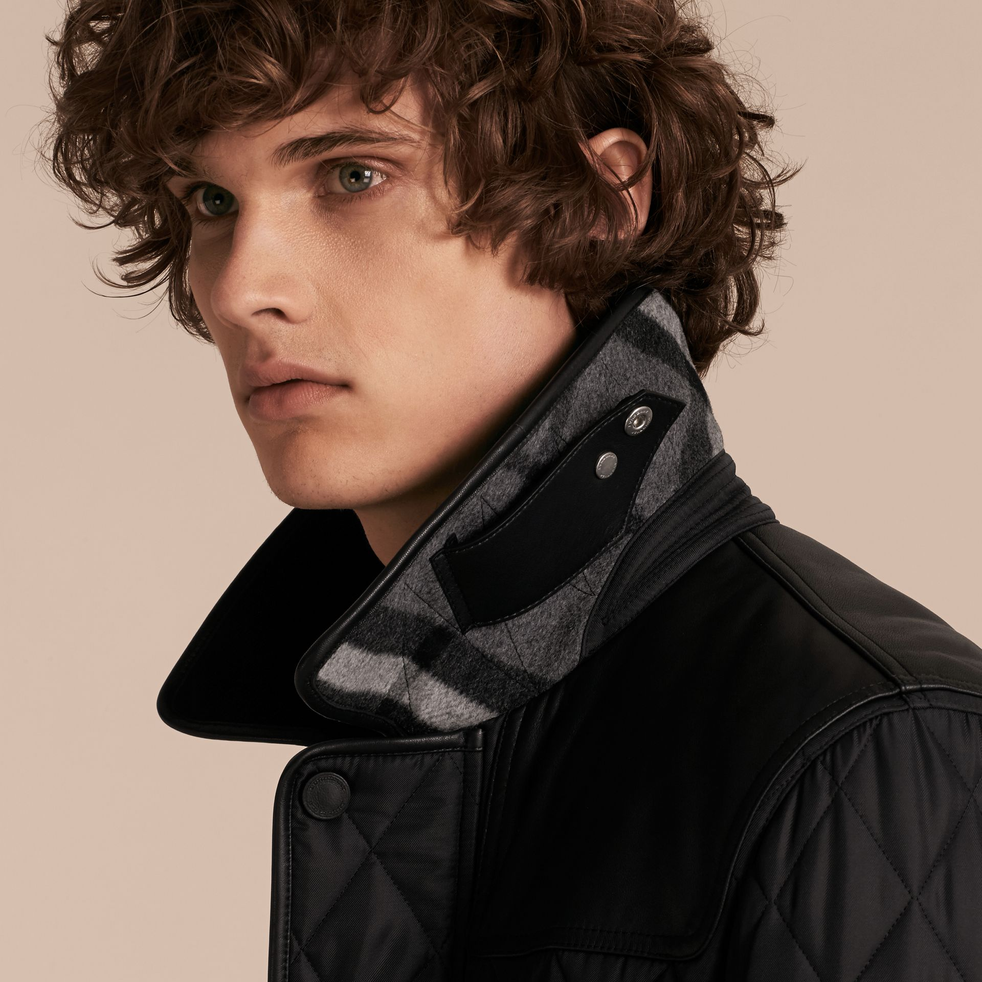 Black Lambskin Yoke Diamond Quilted Jacket - gallery image 5