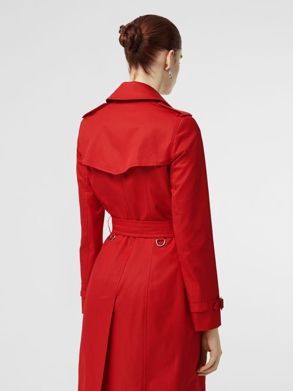 Cotton Gabardine Trench Coat in Bright Red - Women | Burberry United Kingdom - cell image 2