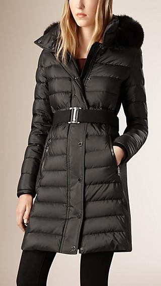 Manteau rembourré en duvet avec col en fourrure