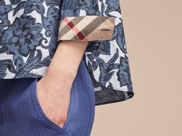 Pleated Bib Beasts Print Cotton Shirt in Stone Blue - Women | Burberry Australia - cell image 4