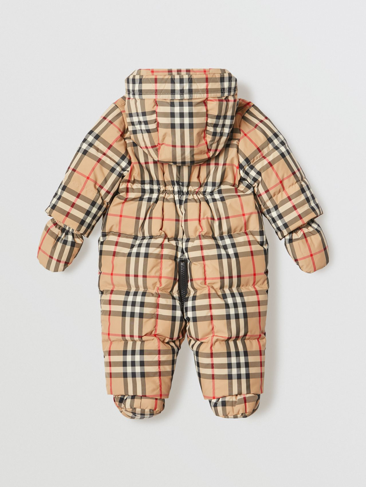 Vintage Check Down-filled Puffer Suit in Archive Beige
