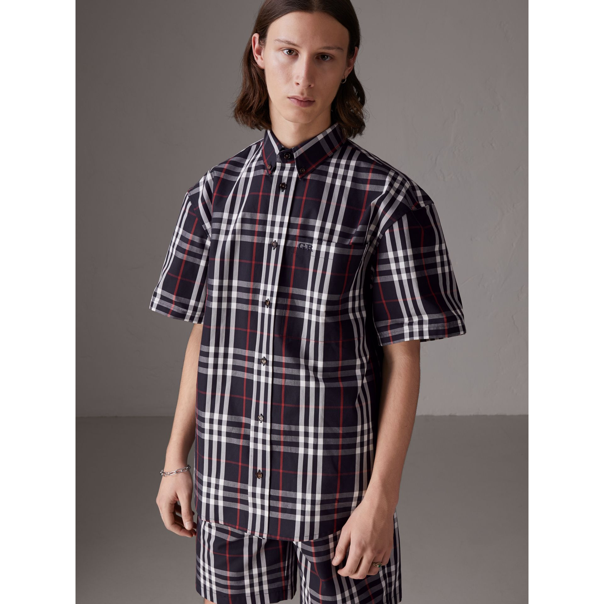 Gosha x Burberry Short-sleeve Check Shirt in Navy | Burberry United Kingdom - gallery image 0