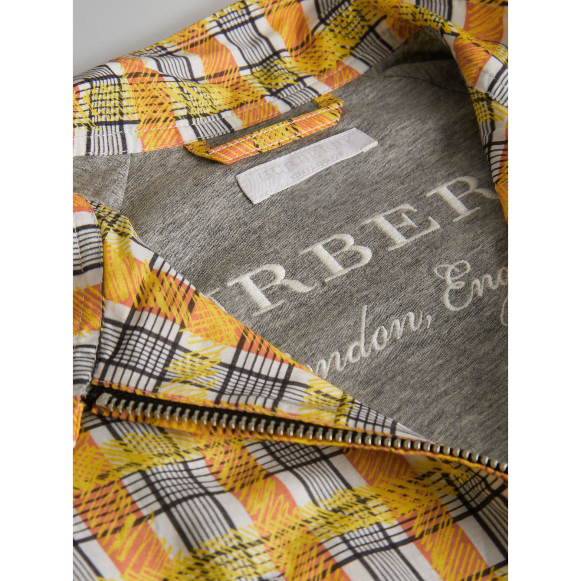Scribble Check Cotton Silk Harrington Jacket in Bright Yellow | Burberry - gallery image 1