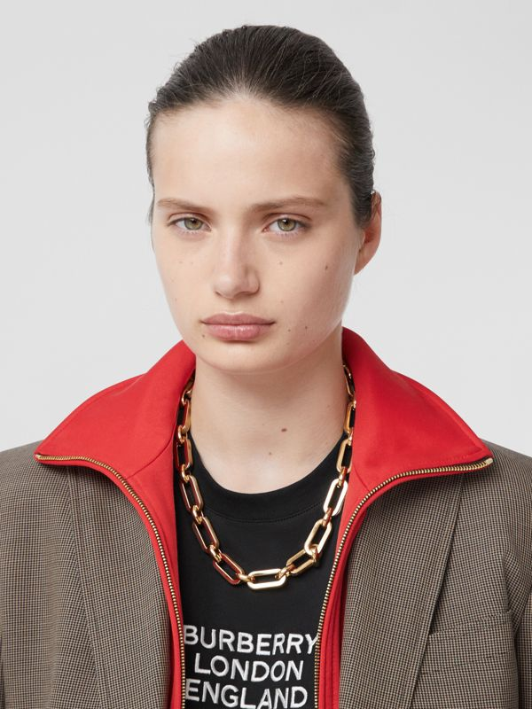 Resin and Gold-plated Chain Link Necklace in Light Gold/horn - Women | Burberry - cell image 2