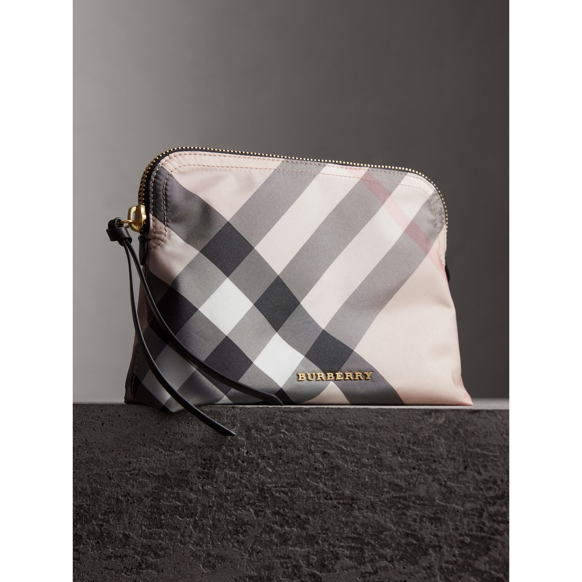 Large Zip-top Check Pouch in Ash Rose - Women | Burberry Canada - gallery image 6