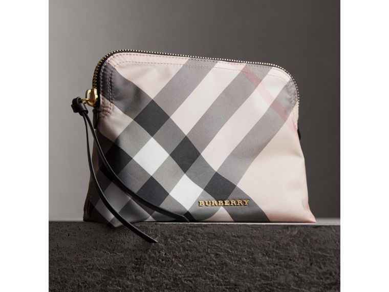 Large Zip-top Check Pouch in Ash Rose - Women | Burberry Canada - cell image 4