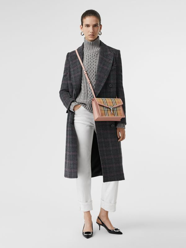 Small Vintage Check and Leather Crossbody Bag in Ash Rose - Women | Burberry United Kingdom - cell image 2