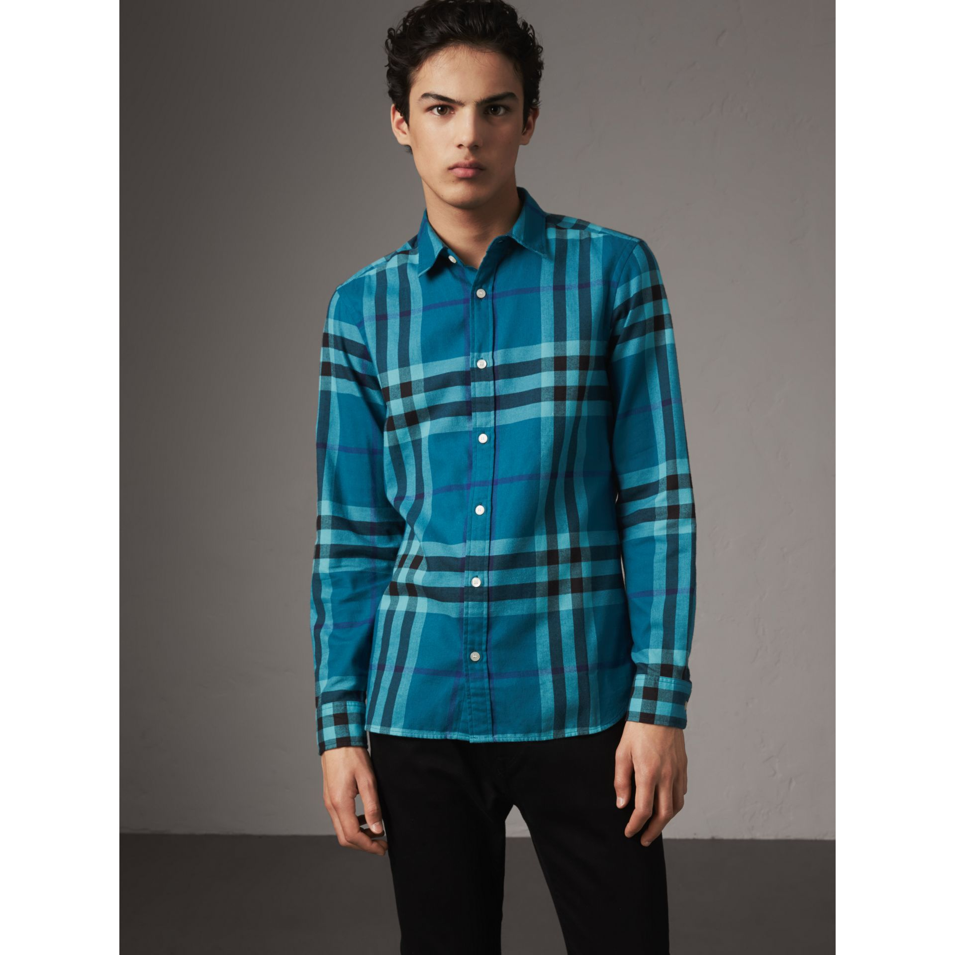 Check Cotton Flannel Shirt in Peridot Blue - Men | Burberry - gallery image 1