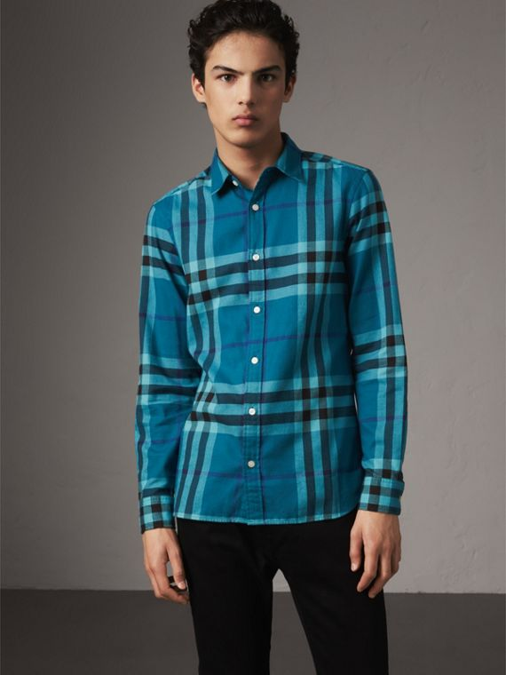 Check Cotton Flannel Shirt in Peridot Blue