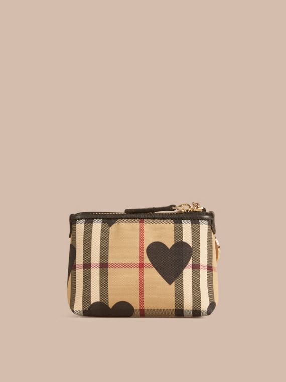 Black Heart Print Horseferry Check Coin Case Black - cell image 3