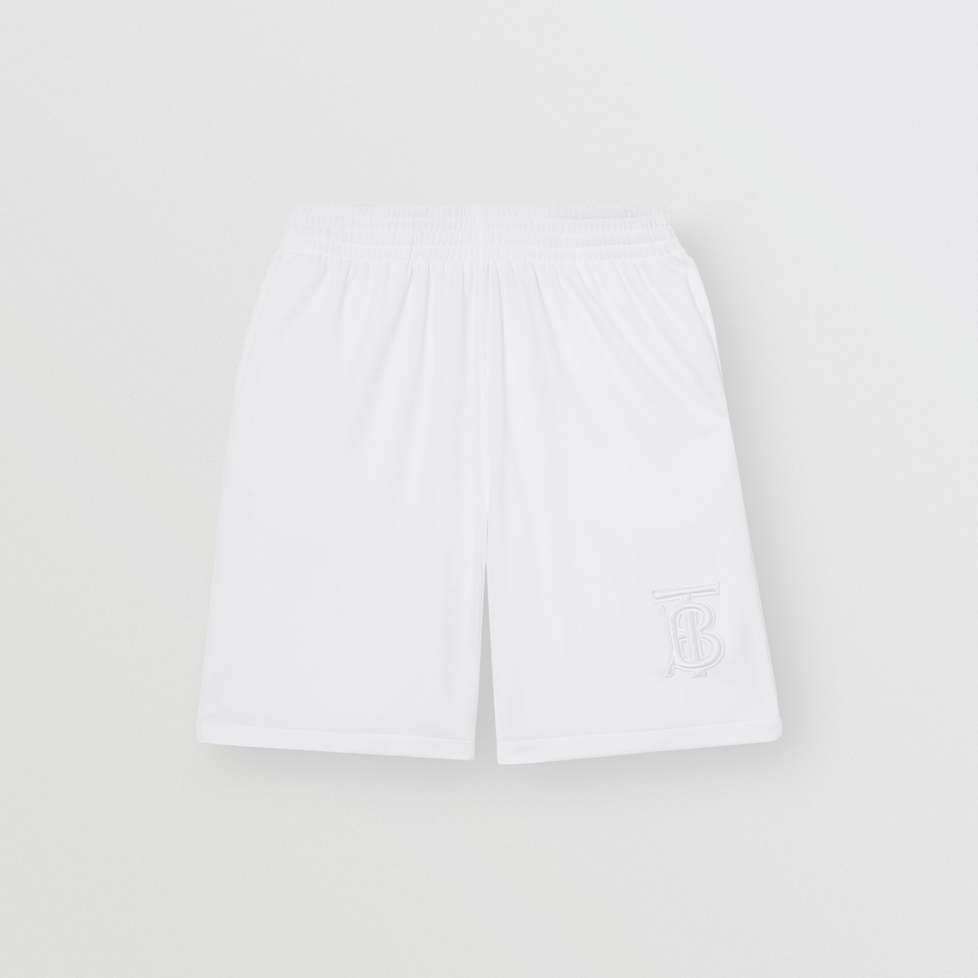 Monogram Motif Jersey Tennis Shorts in White - Men | Burberry - gallery image 3