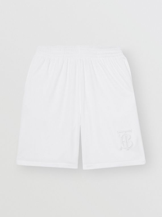 Monogram Motif Jersey Tennis Shorts in White
