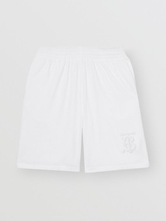 Tennisshorts aus Jersey mit Monogrammmotiv (Weiss)