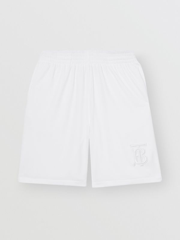 Monogram Motif Jersey Tennis Shorts in White - Men | Burberry - cell image 3