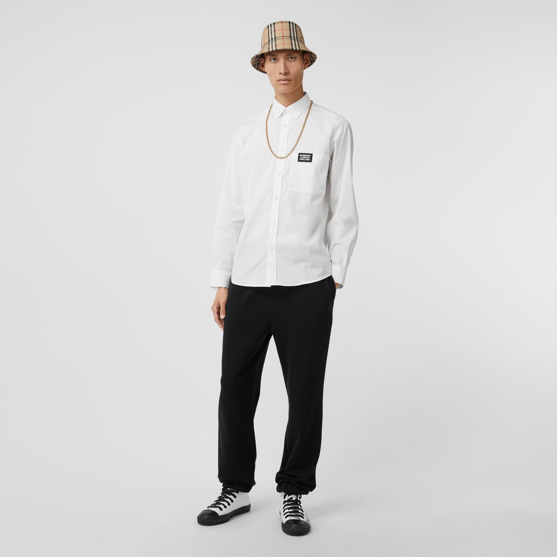 Logo Detail Stretch Cotton Poplin Shirt in White - Men | Burberry United Kingdom - gallery image 4