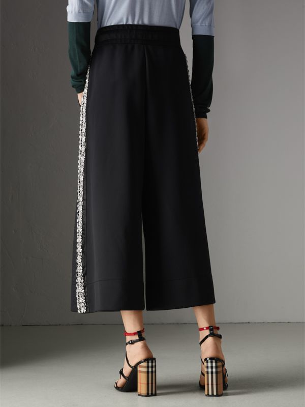 Crystal Detail Wide-leg Jersey Cropped Track Pants in Black - Women | Burberry Australia - cell image 2
