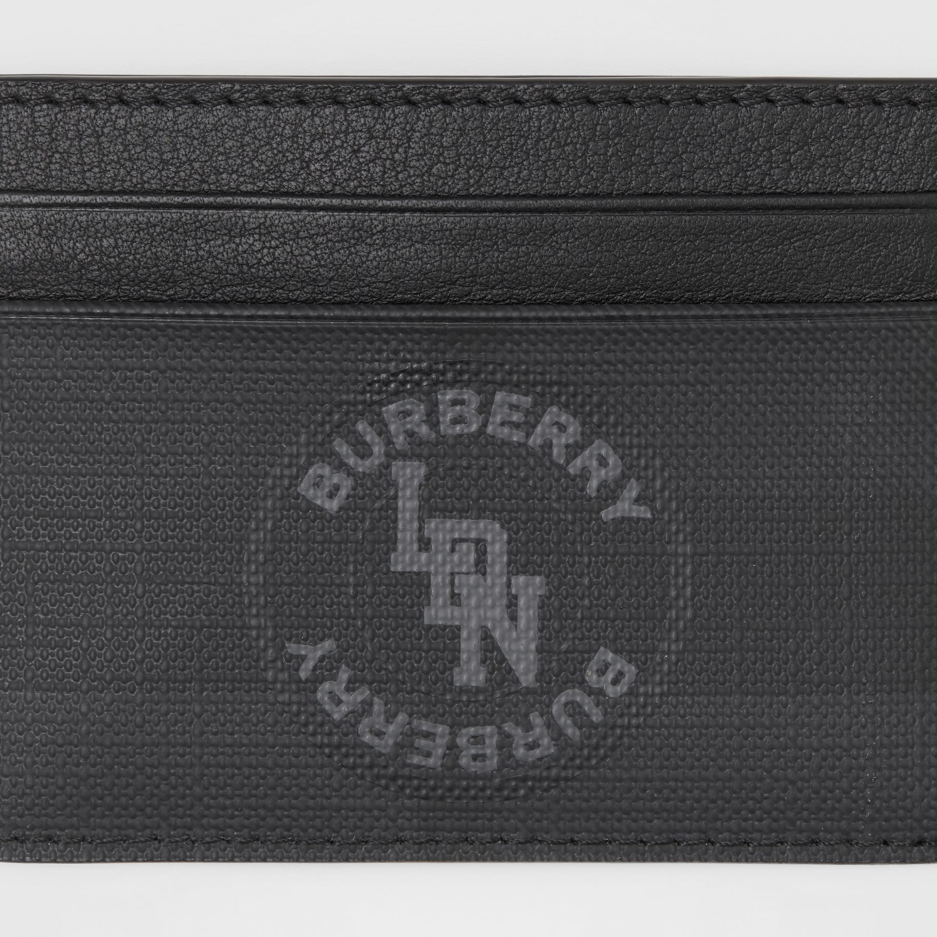Logo Graphic London Check Card Case in Dark Charcoal - Men | Burberry - gallery image 1