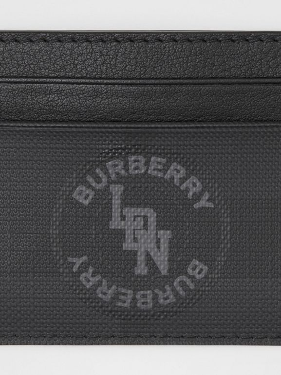 Logo Graphic London Check Card Case in Dark Charcoal - Men | Burberry - cell image 1