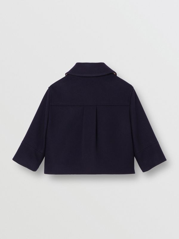 Melton Wool Tailored Pea Coat in Navy - Children | Burberry - cell image 3