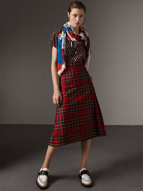 Doodle Print and Colour-block Check Silk Cotton Scarf in Red/ink Blue | Burberry - cell image 2