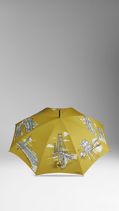 Cornflower yellow pr San Francisco Landmarks Walking Umbrella - Image 3