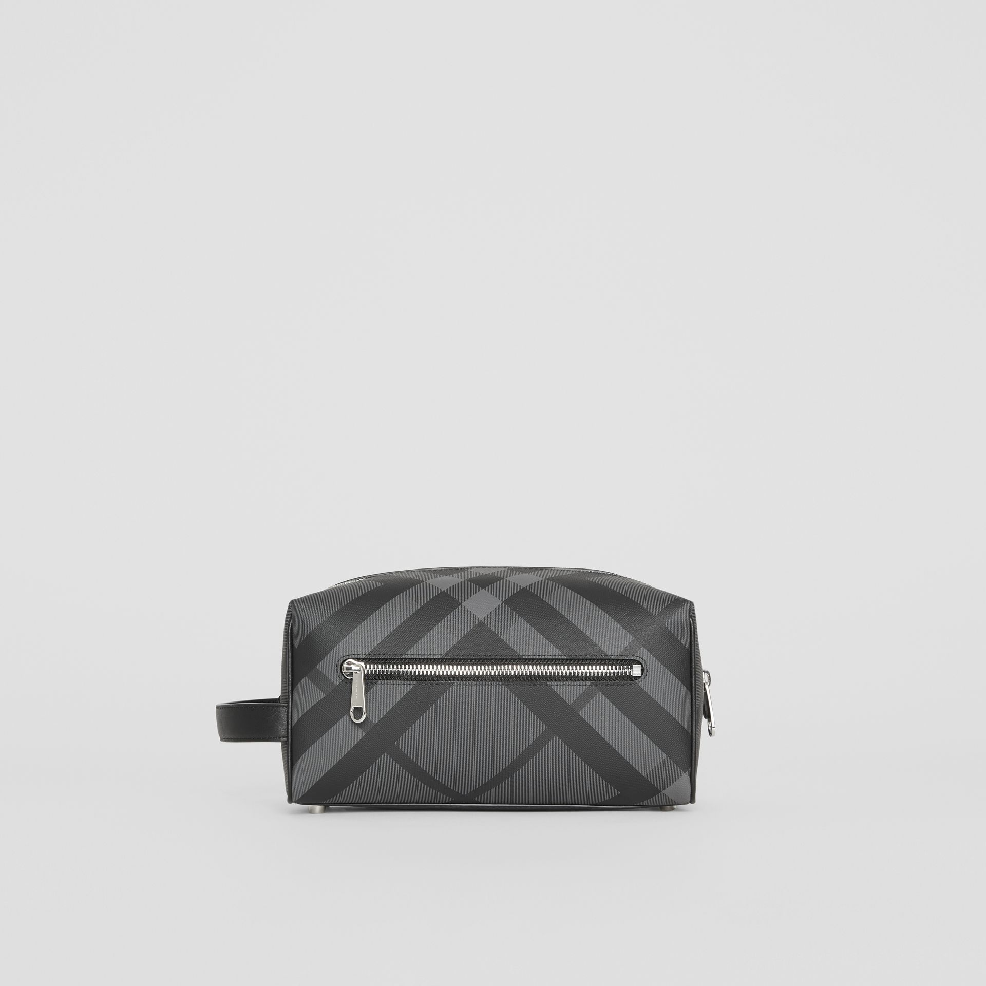 EKD London Check and Leather Pouch in Charcoal/black - Men | Burberry Singapore - gallery image 7
