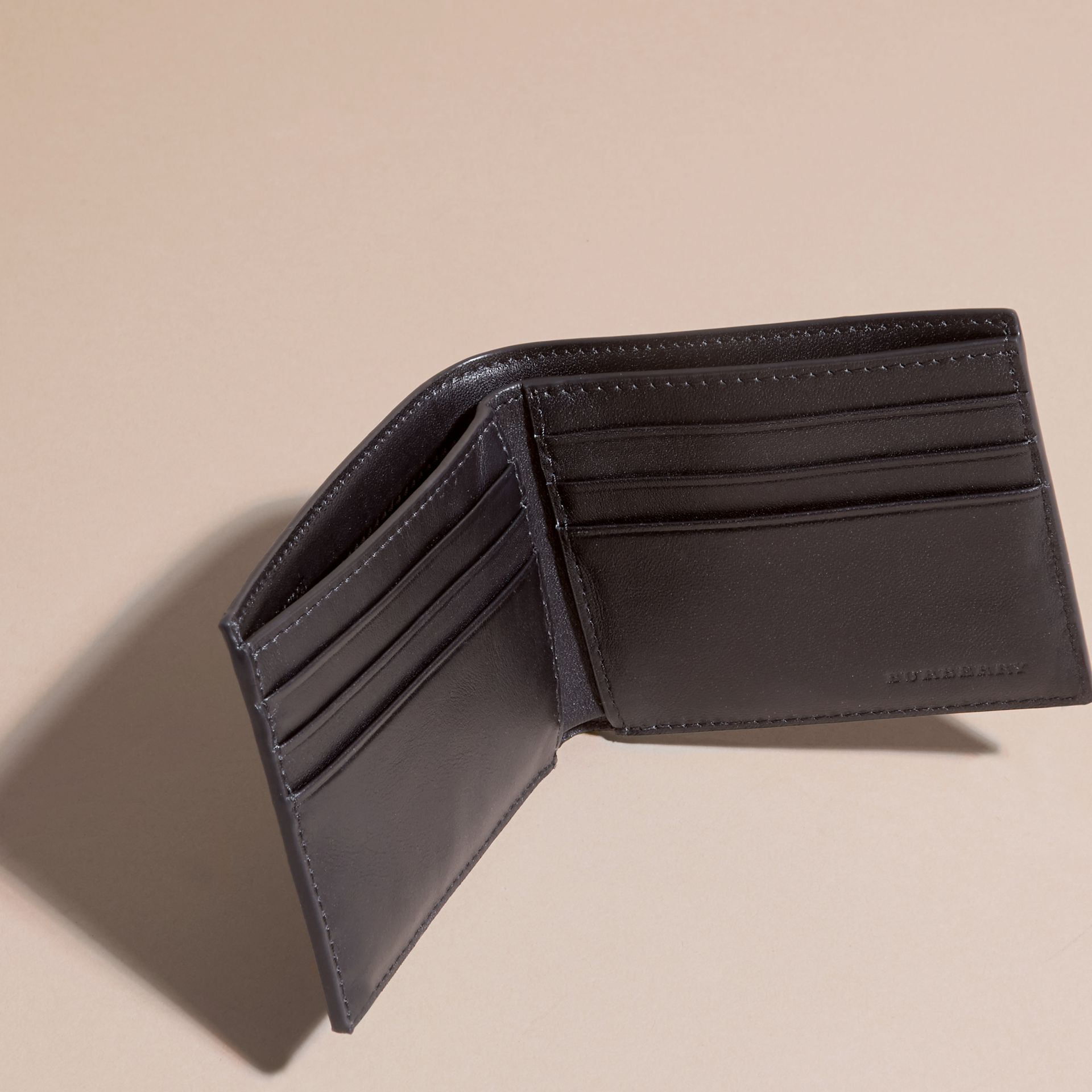 Navy/geometric Colour Block London Check Folding Wallet - gallery image 5