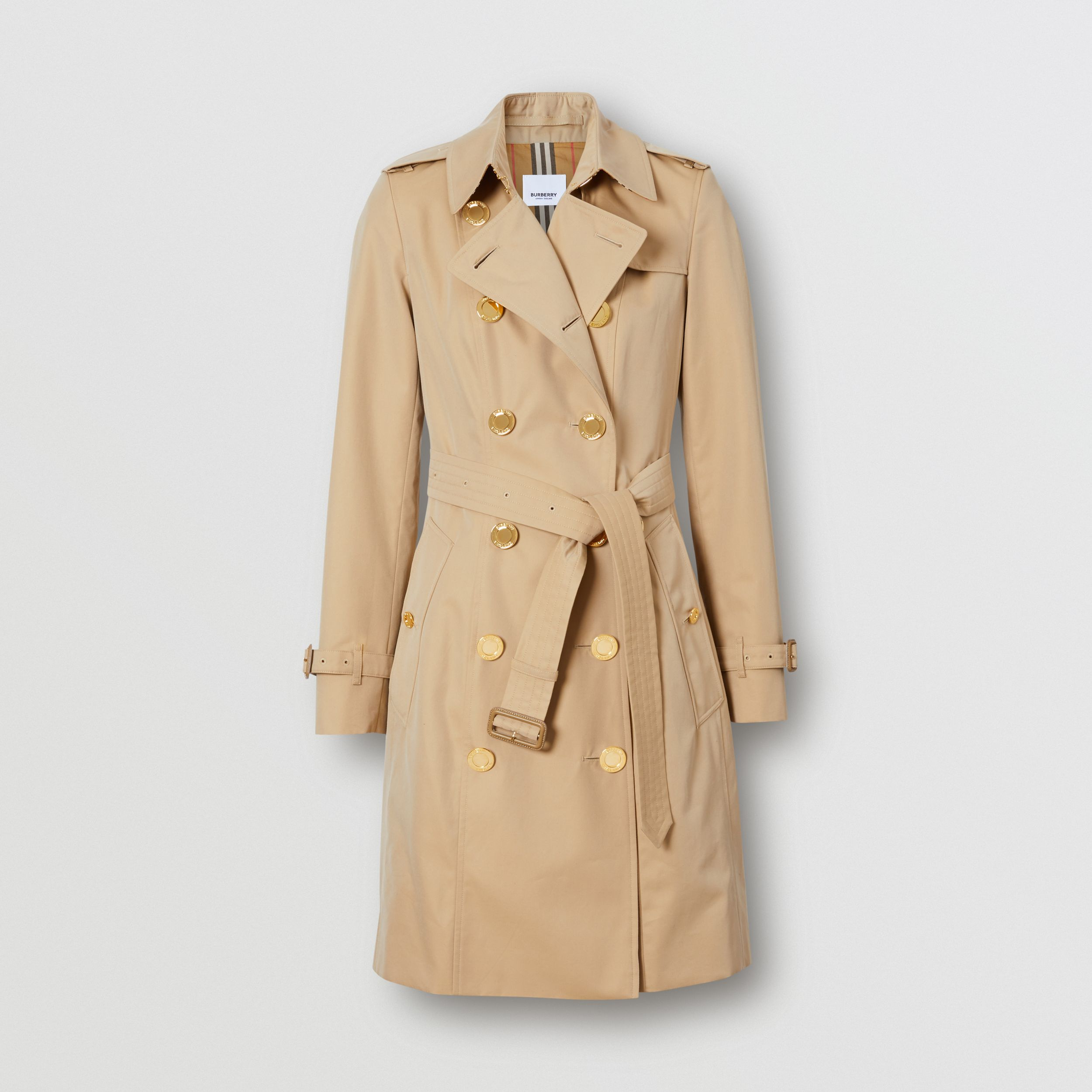 Button Detail Cotton Gabardine Trench Coat in Honey - Women | Burberry - 4