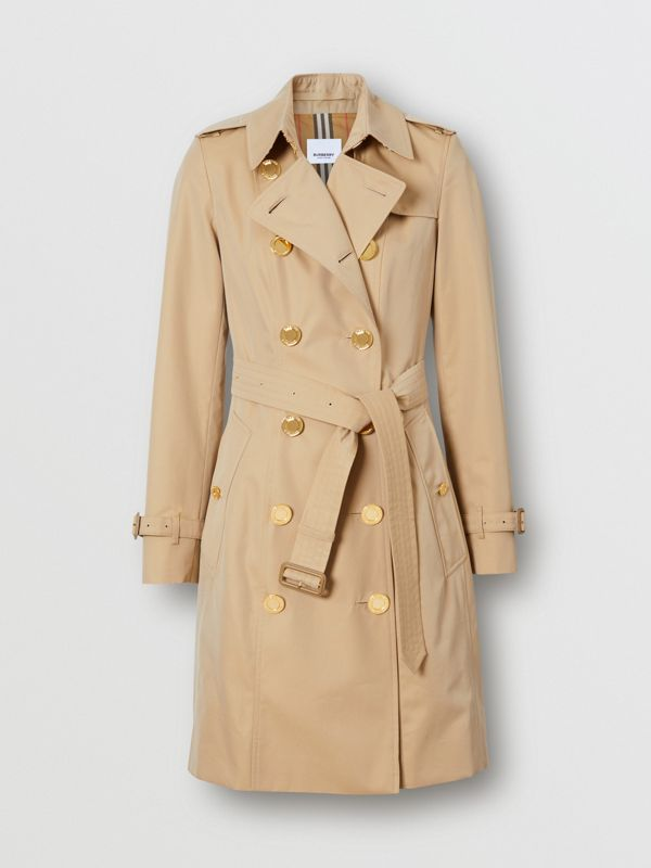Button Detail Cotton Gabardine Trench Coat in Honey - Women | Burberry - cell image 3