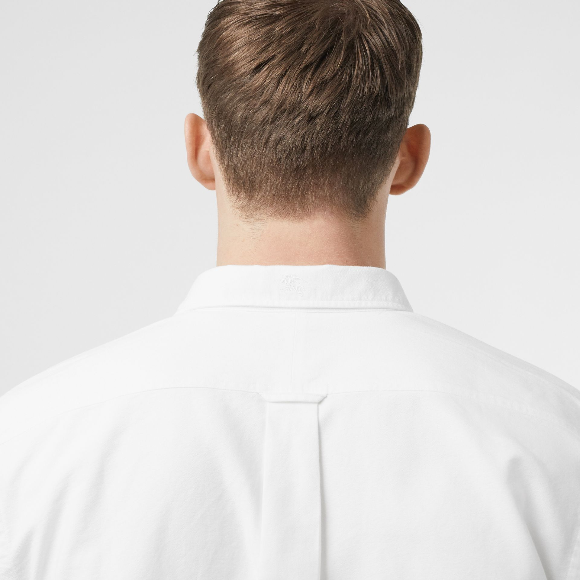 Button-down Collar Cotton Oxford Shirt in White - Men | Burberry United Kingdom - gallery image 1