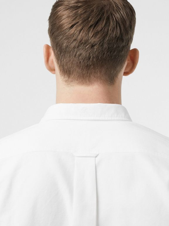 Button-down Collar Cotton Oxford Shirt in White - Men | Burberry United Kingdom - cell image 1