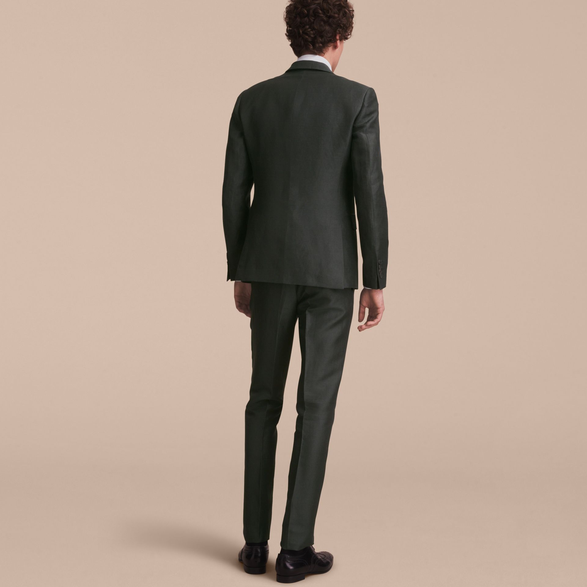 Slim Fit Travel Tailoring Linen Blend Suit in Slate Green - Men | Burberry - gallery image 3