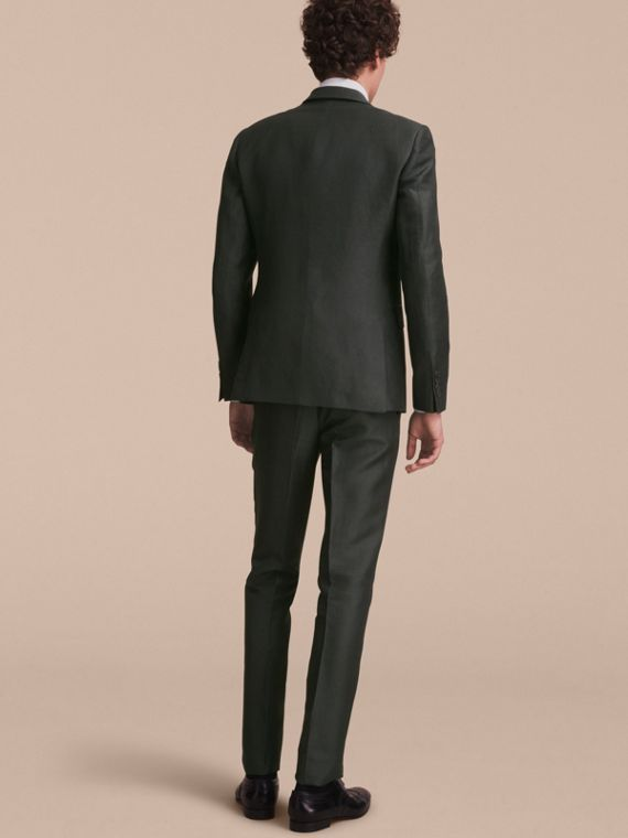 Slim Fit Travel Tailoring Linen Blend Suit in Slate Green - Men | Burberry - cell image 2