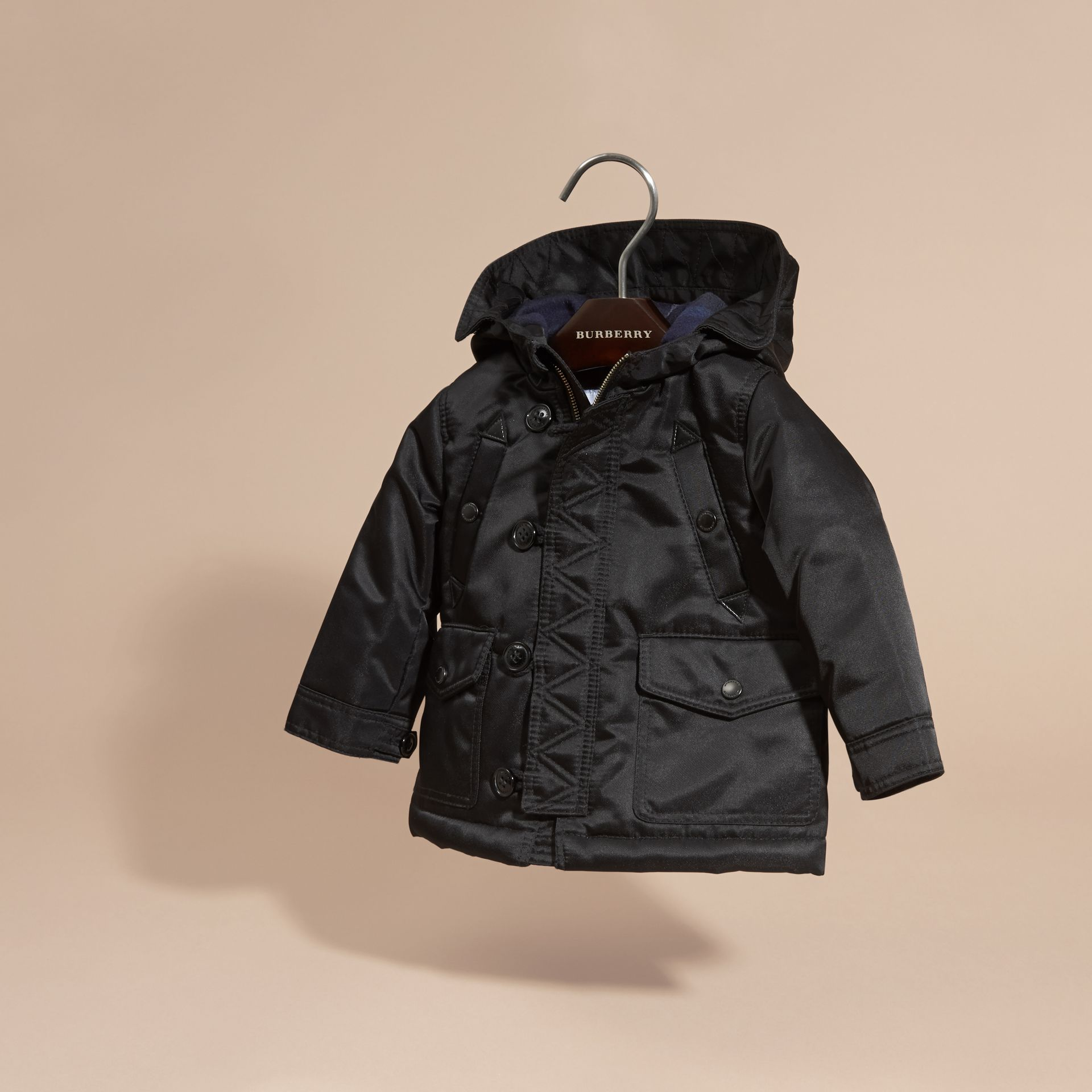 Black Hooded Technical Parka - gallery image 3
