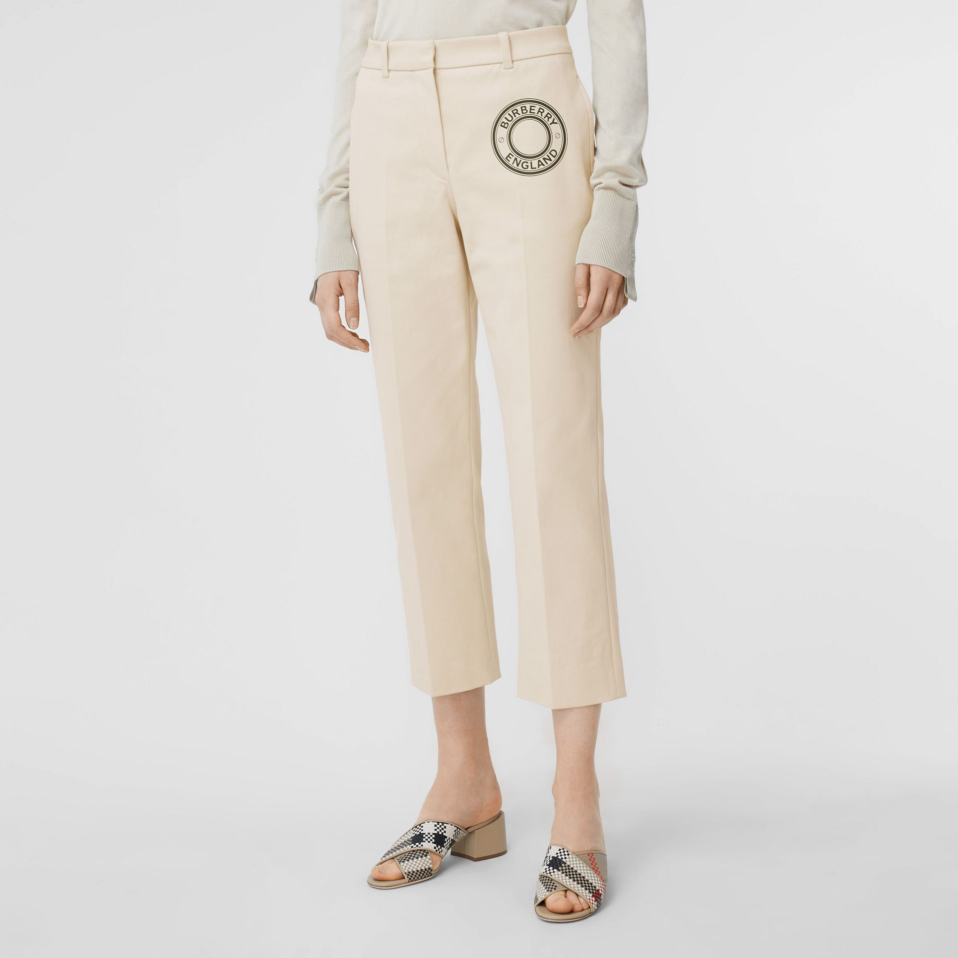 Logo Graphic Stretch Cotton Canvas Tailored Trousers in Pale Cream - Women | Burberry Hong Kong S.A.R - gallery image 5