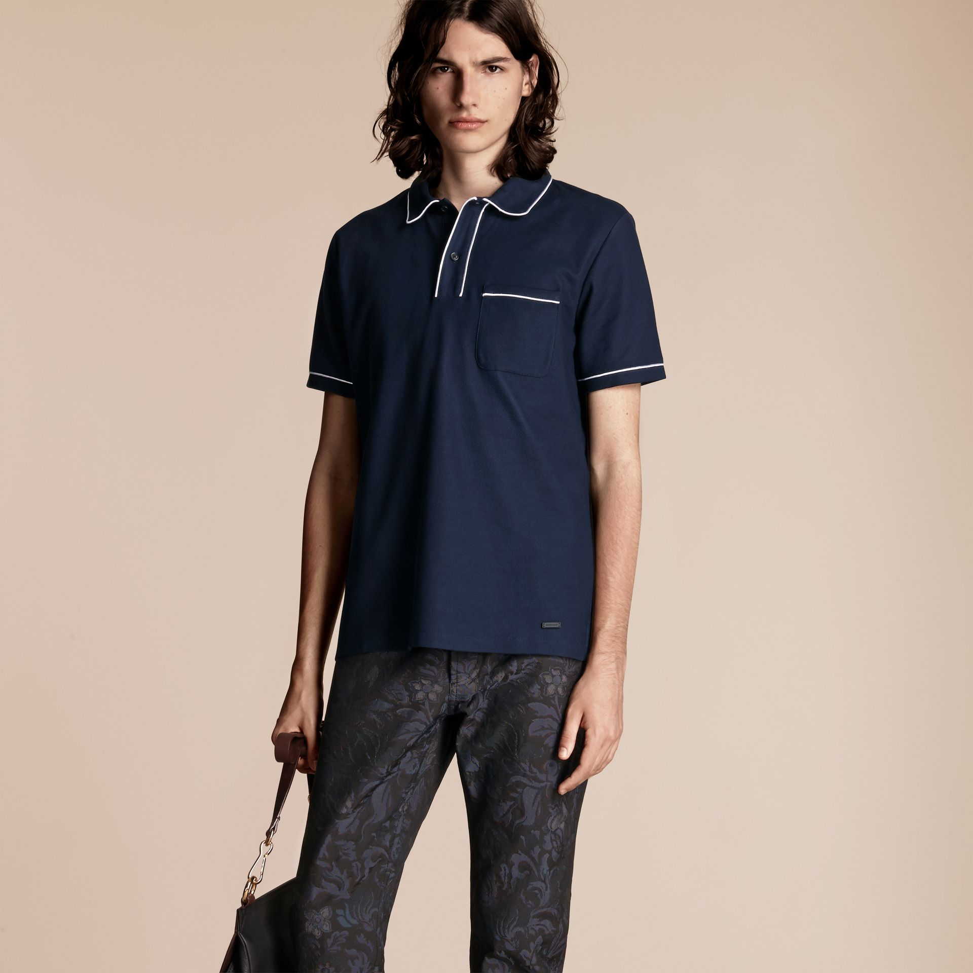 Navy Piped Cotton Piqué Polo Shirt Navy - gallery image 1