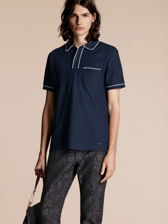 Piped Cotton Piqué Polo Shirt Navy