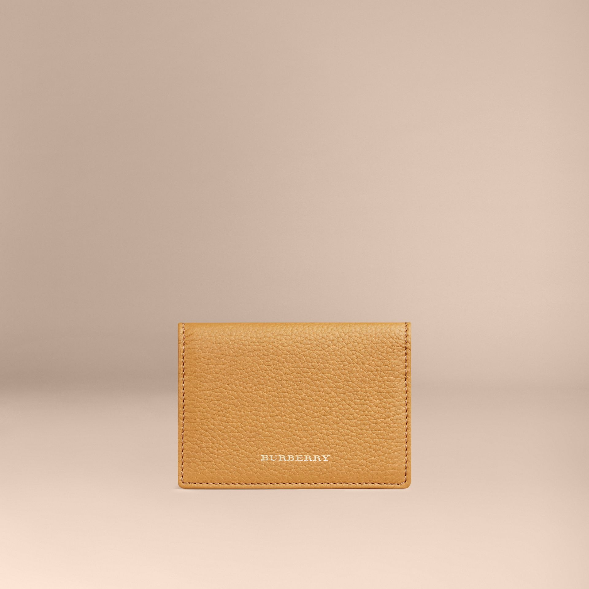 Grainy Leather Card Case Ochre Yellow - gallery image 1