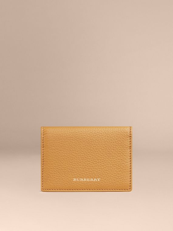 Grainy Leather Card Case Ochre Yellow