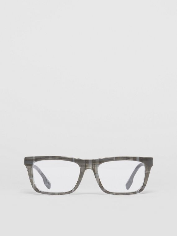 Vintage Check Rectangular Optical Frames in Charcoal Black