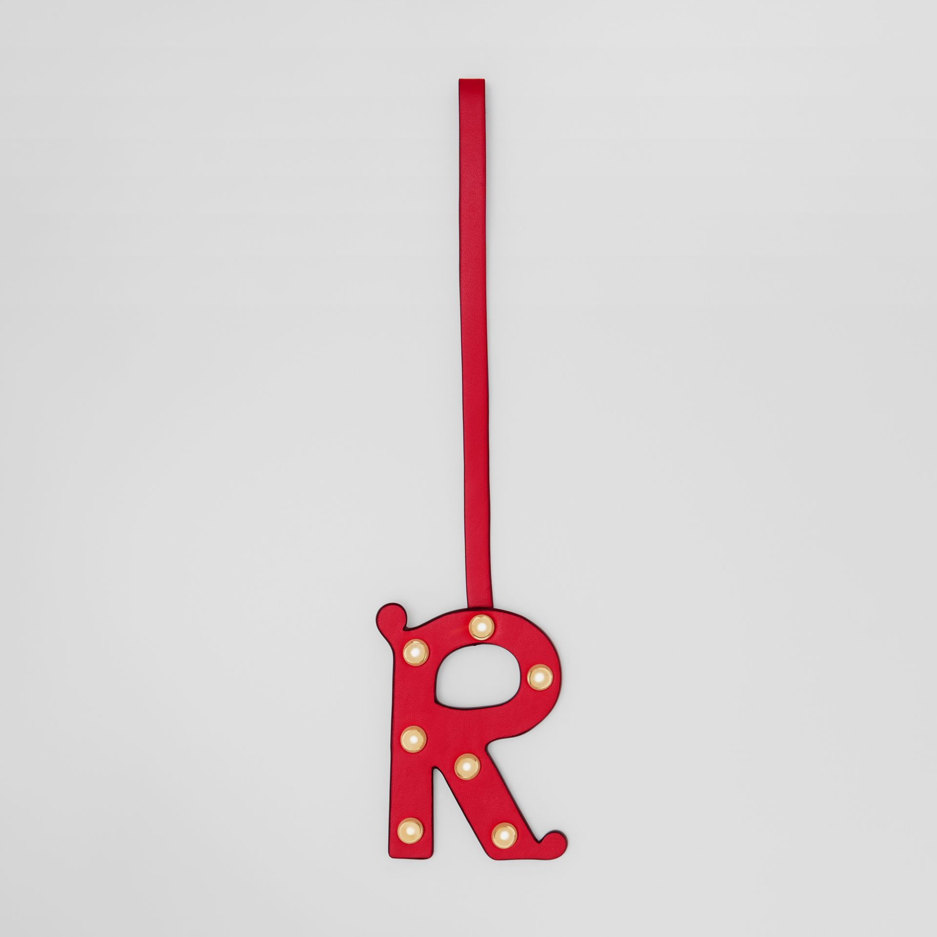 'R' Studded Leather Alphabet Charm in Red/light Gold | Burberry - gallery image 0