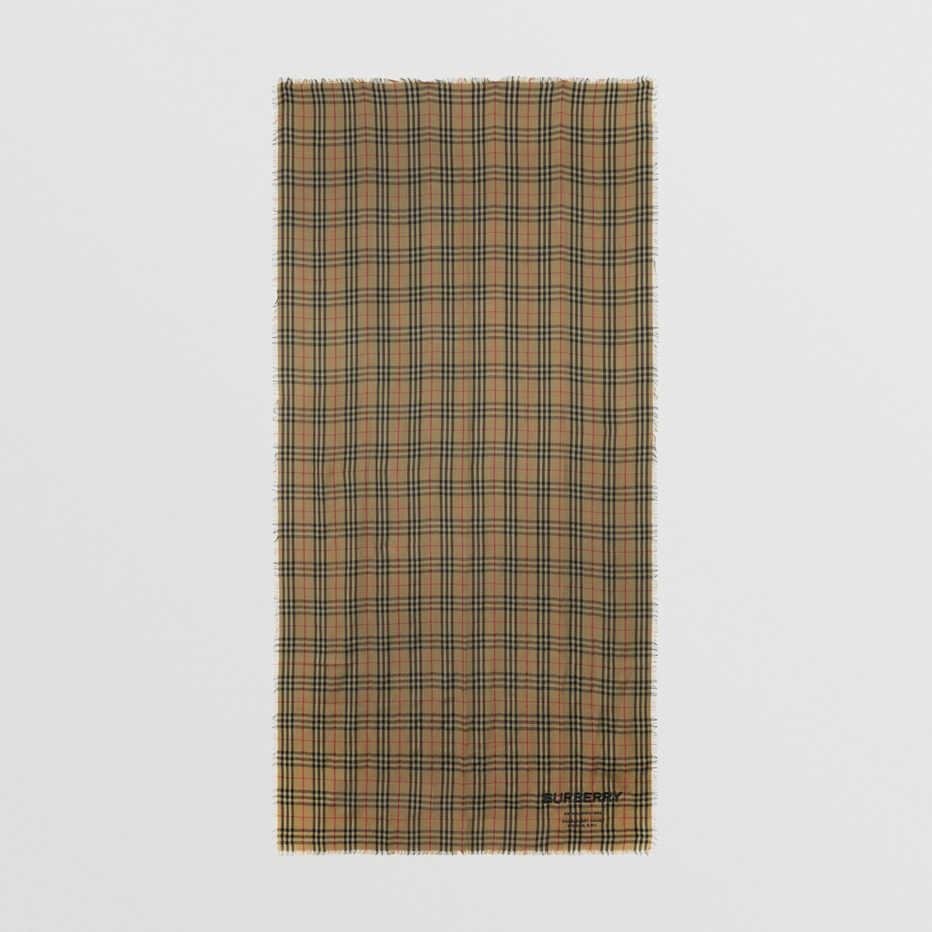Embroidered Vintage Check Lightweight Cashmere Scarf in Olive Green | Burberry Hong Kong - gallery image 3